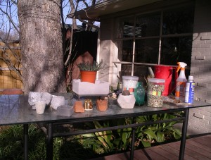 outdoor potting table